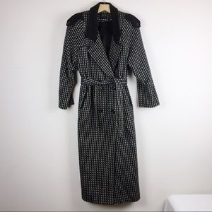 Vintage double breasted belted wool blend coat